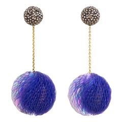 Axel Russmeyer Gold, Glass Bead, and Sequin Earrings