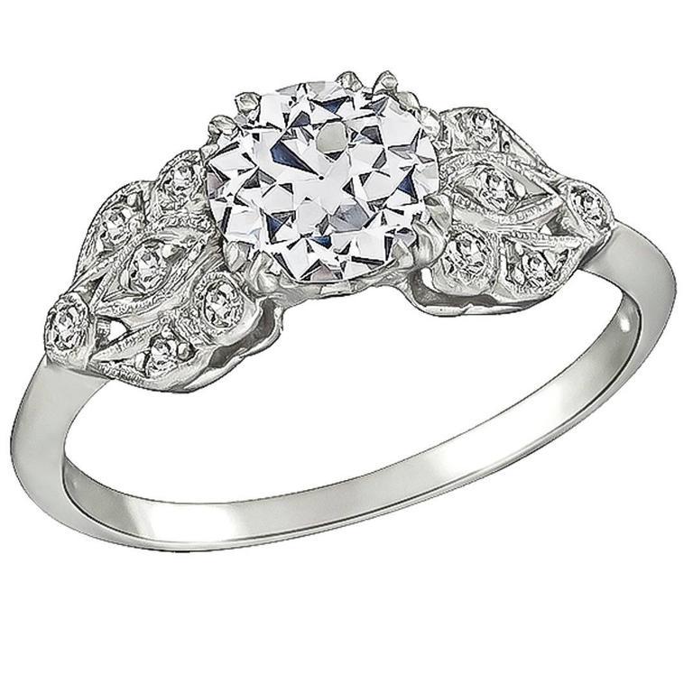 GIA 1 Carat Diamond Platinum Engagement Ring For Sale
