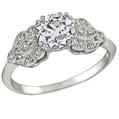 GIA 1 Carat Diamond Platinum Engagement Ring