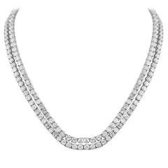 Two Platinum Tennis Necklaces With 50 Carats of Diamonds could be worn as one.