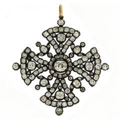 Georgian Diamond Silver Gold Maltese Cross Pendant