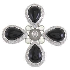 Onyx Rock Crystal Diamond Four Teardrop Gold Pendant