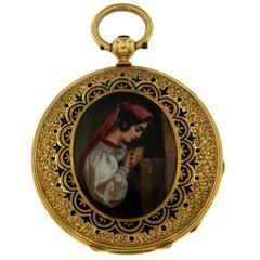 Antique Yellow Gold Enamel Pocket Watch