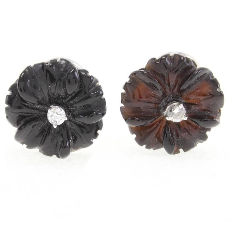 Luise Diamond & Black Agate Daisy Earrings 1