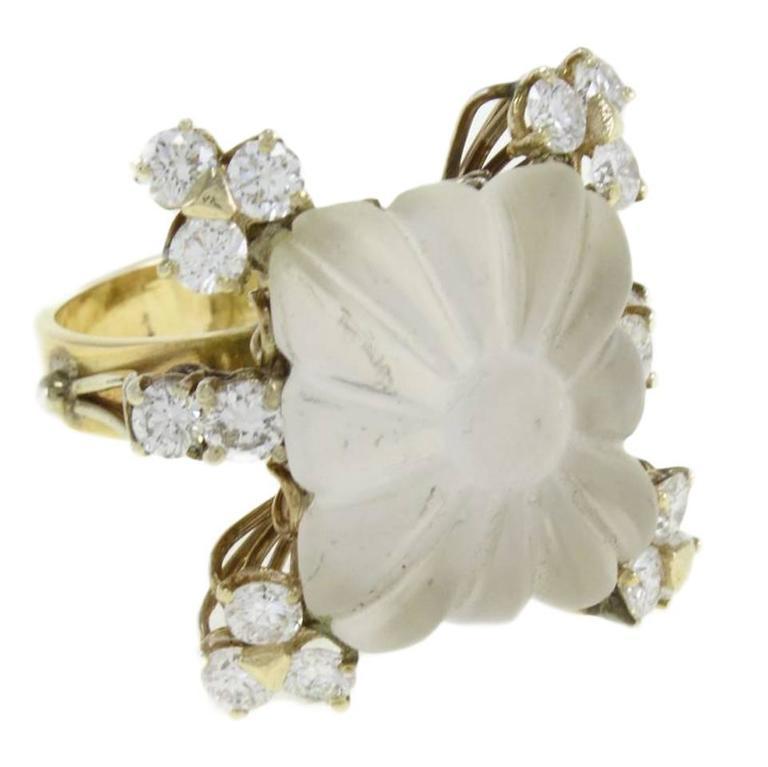 Diamond Square Rock Crystal Gold Ring