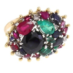 Sapphires, Emeralds and Rubies and Diamond Gold Ring