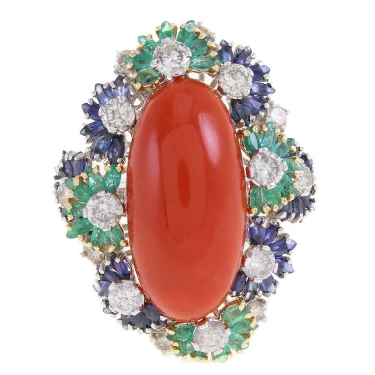 Italian Coral Multistone and Diamond Gold Ring