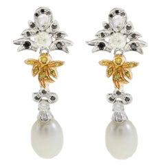 Pearl Teardrop Blue Diamond Drop Gold Earrings