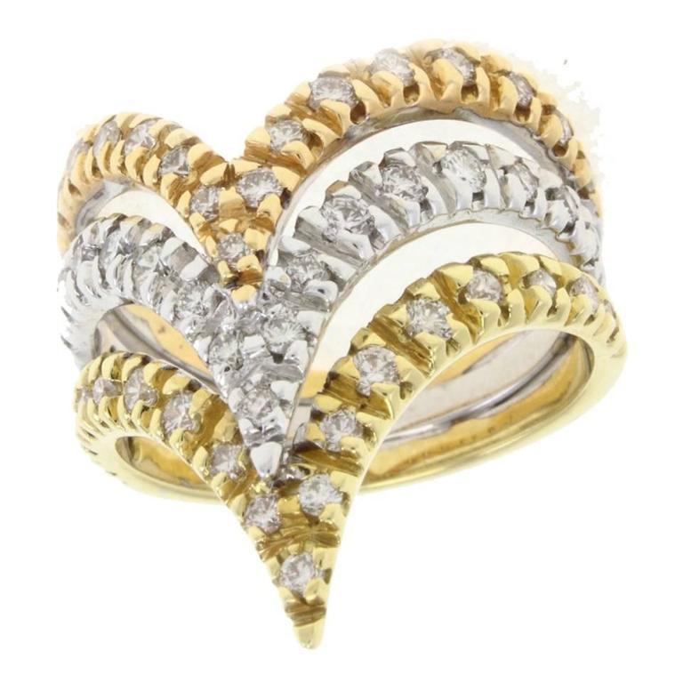 Three Gold and Diamond Gold Ring