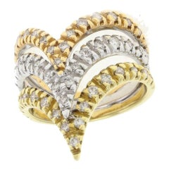 Three Gold and Diamond Gold Ring
