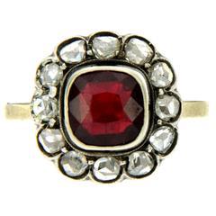 Victorian Garnet Diamond Cluster Ring
