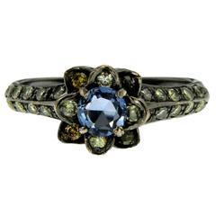 Sapphire Diamond Gold Flower Ring