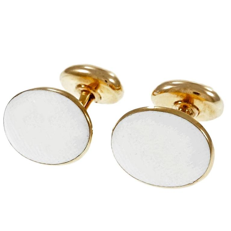 Larter & Sons Textured White Tops Rose Gold Cufflinks