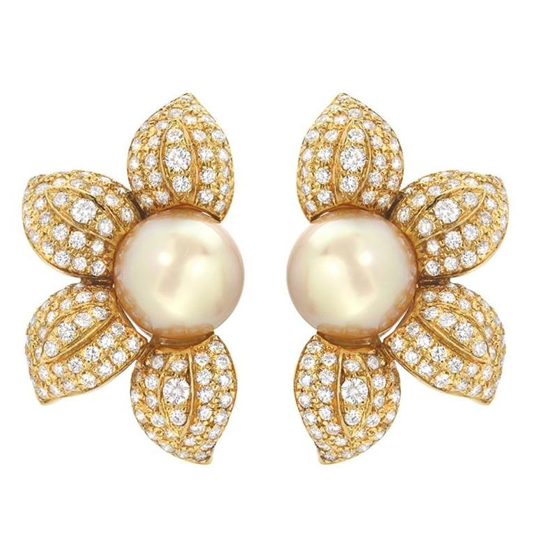 Golden South Sea Pearl Diamond Gold Flower Earrings