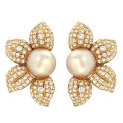Estate Golden South Sea Pearl Diamond Sunflower Earrings