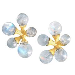 John Iversen Rainbow Moonstone Gold Micro Jack Stud Earrings