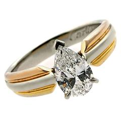 Cartier Pear Shaped Diamond Gold Platinum Engagement Ring