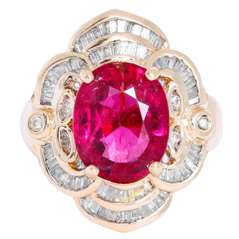 Rubellite Tourmaline Diamond Ring For Sale