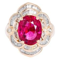 Rubellite Tourmaline Diamond Ring