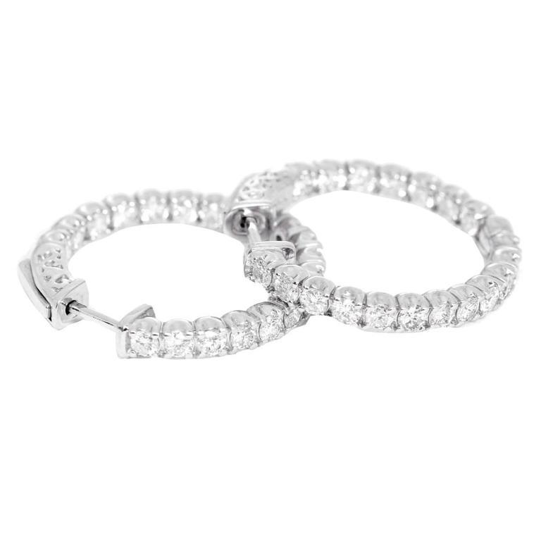 Beautiful  Diamond Inside-Out Hoop Earrings