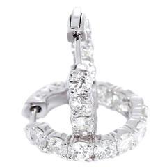 Beautiful White Gold Diamond Inside-Out Hoop Earrings