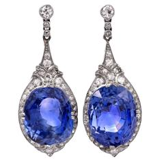 GIA Ceylon Sapphire No Heat Diamond Drop Platinum Earrings