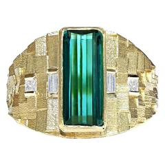 Jo Hayes Ward One of a Kind Green Tourmaline Diamond Reflective Gold Ring