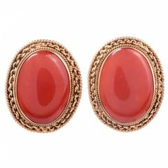 Red Coral Gold Earclips