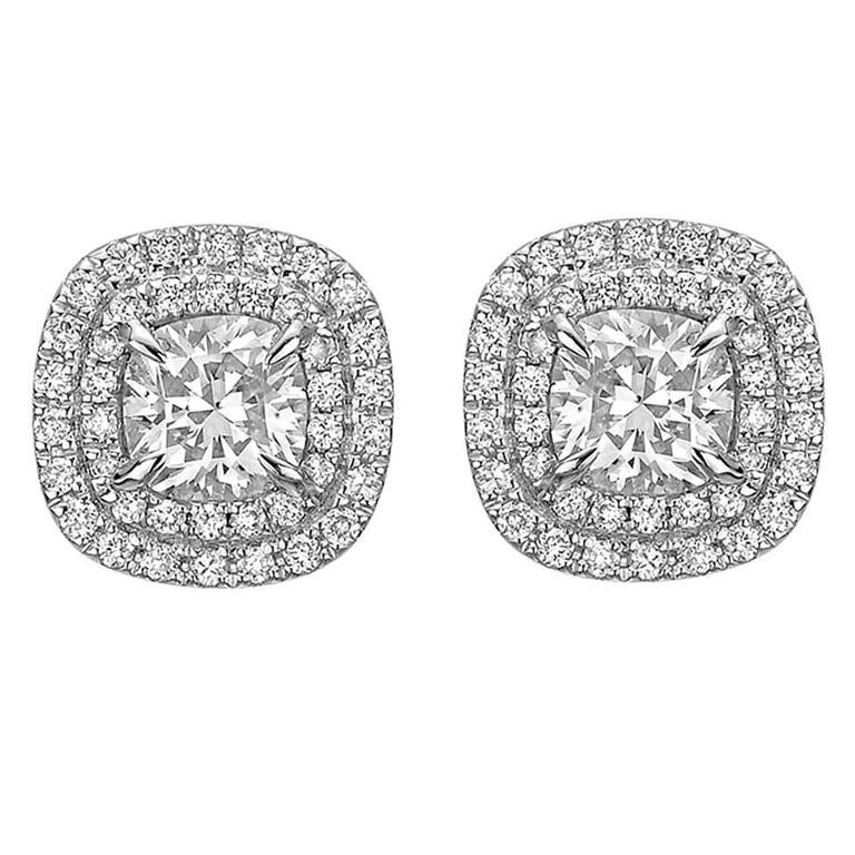Cushion Cut Diamond Double Halo Stud Earrings For