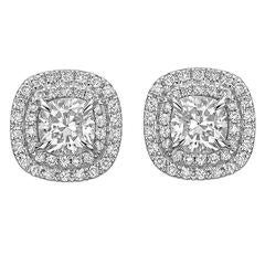 Cushion-Cut Diamond Double Halo Stud Earrings