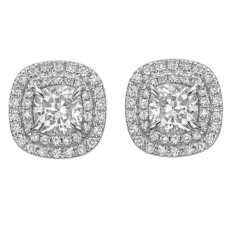 Cushion Cut Diamond Double Halo Stud Earrings At 1stdibs
