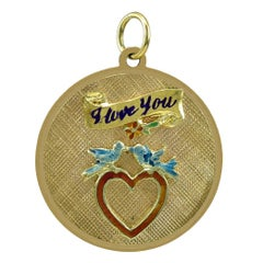 I Love You Gold and Enamel Charm