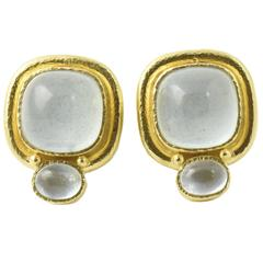 Elizabeth Locke Aquamarine Gold Earclip Earrings