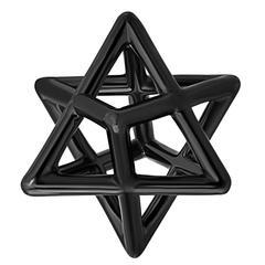 Star Of David Merkaba Black Platinum Drop Necklace