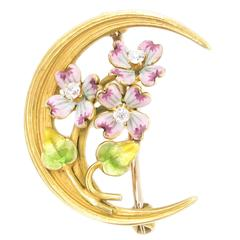 Art Nouveau Enamel Diamond Gold Crescent Brooch