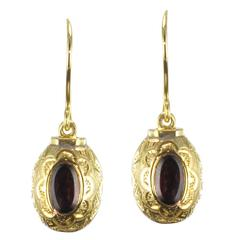 French 1900s Gold and Garnet Dangle Earrings