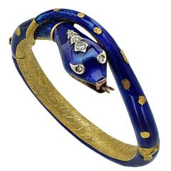 Snake Enamel Gold Bangle Bracelet