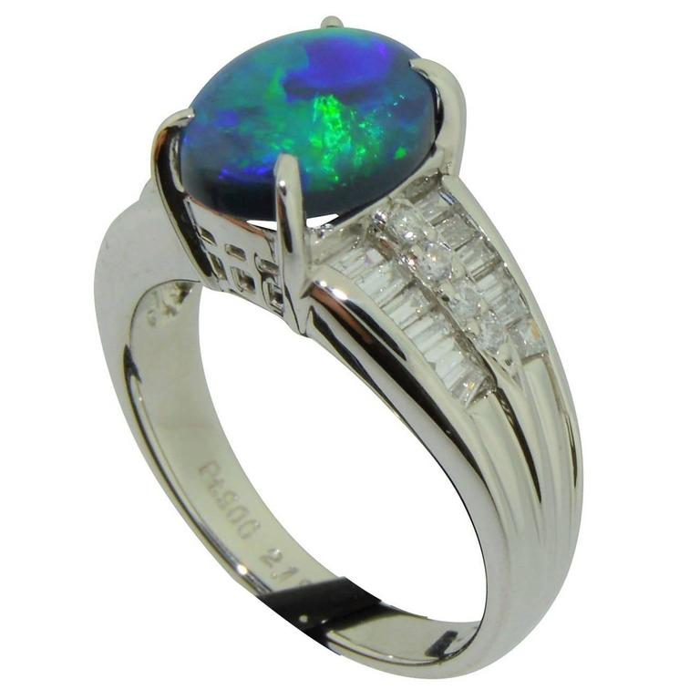Australian Black Opal, Diamond and Platinum Ring