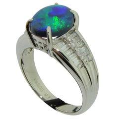 Australian Black Opal, Diamond and Platinum Ring