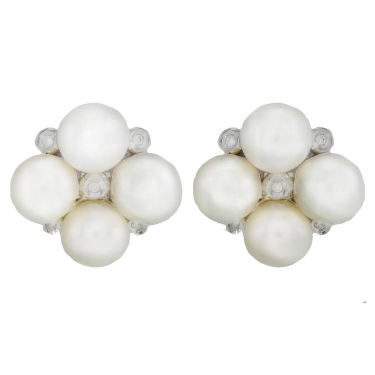Luise Pearl Diamond Earrings 1