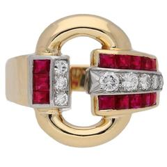 Tiffany & Co ruby cocktail buckle ring, circa 1945.