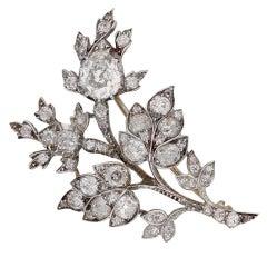 Diamond floral spray brooch, circa 1850.