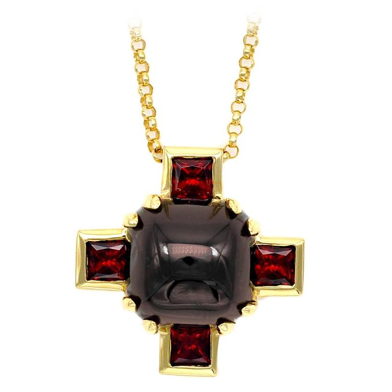 Modern Garnet and Gold Cross Pendant Necklace For Sale