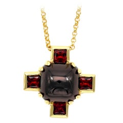 Modern Garnet and Gold Cross Pendant Necklace