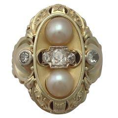 1950s German Pearl and Diamond Yellow Gold Cocktail Ring