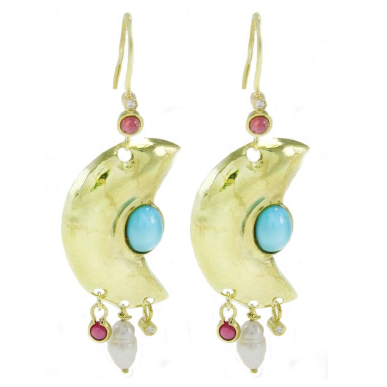Garnet Diamond Pearl Turquoise Gold Moonlight Earrings