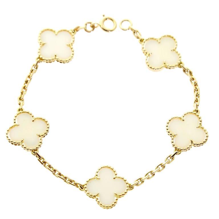 Van Cleef & Arpels White Coral Alhmabra Bracelet For Sale