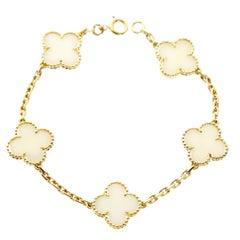 Van Cleef & Arpels White Coral Alhmabra Bracelet