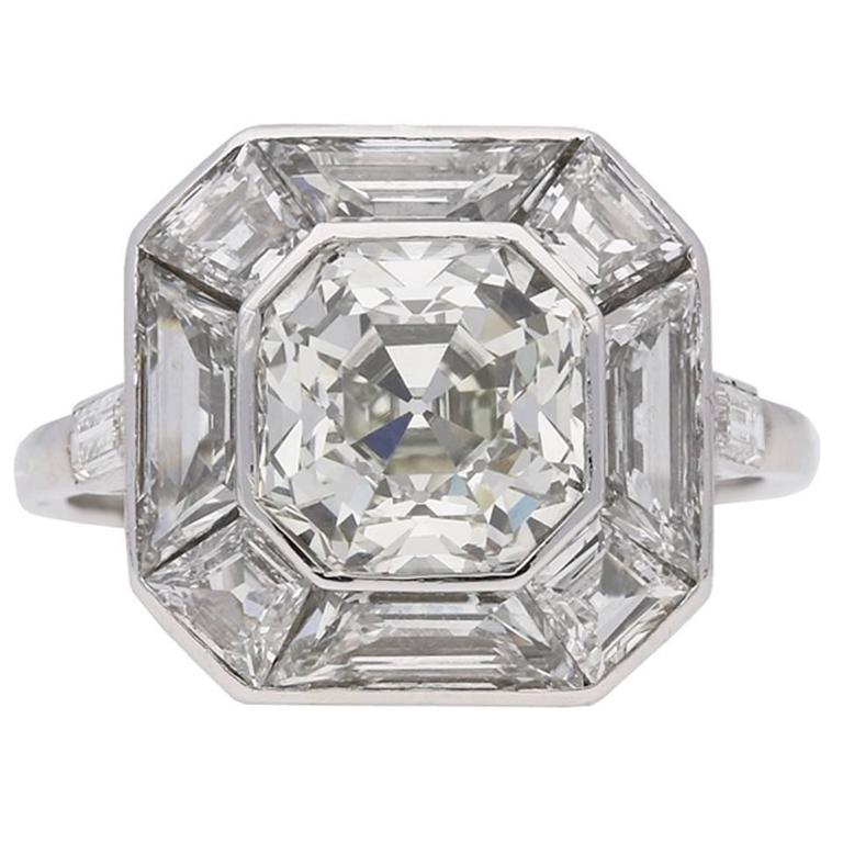 in with white rings ascher cut asscher gold side engagement round diamond stone three stones and center ring