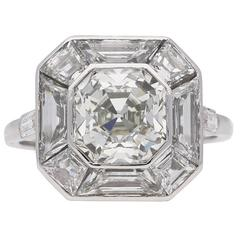Art Deco Asscher cut diamond cluster ring, English, circa 1930.